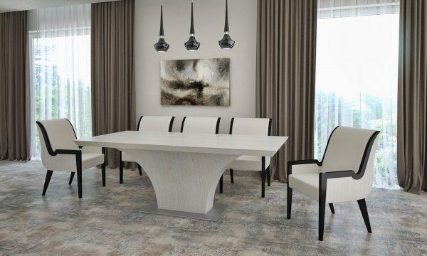 """Highland asztal: """"4"""" fehér Alpi többszörkéselt tölgy, Alpi 10.82"""