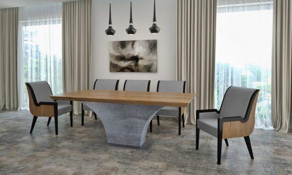 Highland betonlábú Tömörfa jellegű hazai tölgy egyedi ebédlő és tárgyalóasztal