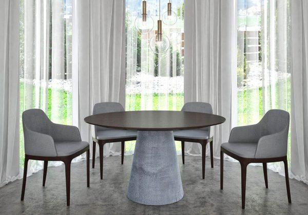 Kerek betonlábú Wenge egyedi étkezőasztalok webáruház