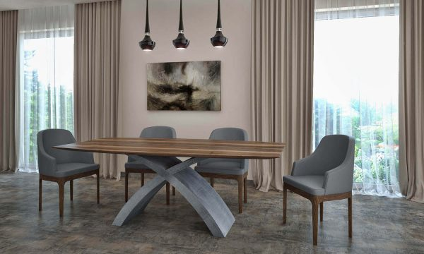 """""""X"""" lábú asztal: """"0"""" Tömörfa jellegű hazai dió (beton)"""