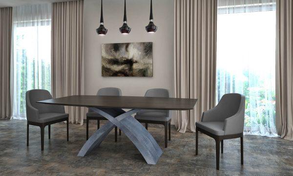 X betonlábúFüstölt feketetölgy egyedi bővíthető ebédlőasztal
