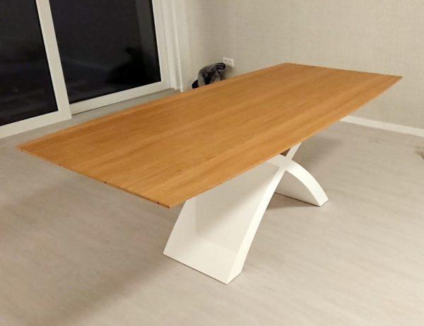 Fehér X lábú nyitható tölgy asztal 2