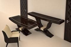 Valódi makasszár ében asztalok magasfényű lakkozás - a 3D ajtót is gyártjuk, festett és furnéros felülettel !