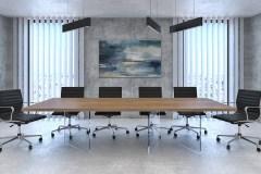 Cubus tárgyalóasztal hazai tölgy lappal, edzett üveg lábbal