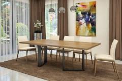 Cubus egyedi étkező és tárgyalóasztal hazai tölgy lappal, acél lábbal modern minimál asztal