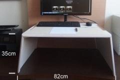 Emelhető asztal PC+papírmunkához, fehér nyírfa (extra nagy)