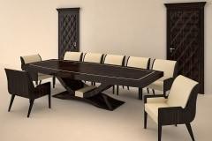 Valódi makasszár ében tárgyalóasztal magasfényű lakkozással- a 3D ajtót is gyártjuk, festett és furnéros felülettel !