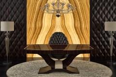 Valódi makasszár ében íróasztal magasfényű lakkozással - a 3D falpanelt is gyártjuk, festett és furnéros felülettel !