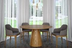 Természetes tölgy egyedi kerek ebédlőasztalok webáruház