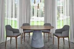 Kerek betonlábú egyedi étkezőasztalok