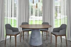 Kerek betonlábú Tömörfa jellegű hazai dió egyedi étkezőasztalok webáruház
