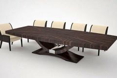 egyedi art deco makasszár ében étkezőasztal nagyméretű tárgyalóasztal ebédlőasztal szék