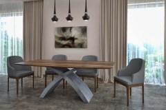 """""""X"""" beton lábú asztal: Természetes hazai dió egyedi bővíthető ebédlőasztalok webáruház"""