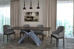 X betonlábú Füstölt feketetölgy egyedi bővíthető ebédlőasztal