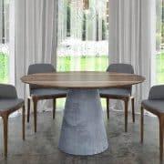 Kerek asztal:  Természetes hazai dió egyedi kerek étkezőasztalok webáruház  (beton)