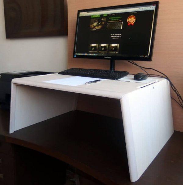 Egyedi emelhető PC + papírmunkához, fehér nyírfa (extra nagy) asztal