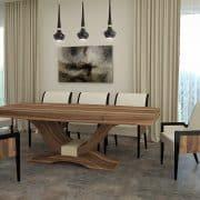 Art deco Alpi többszörkéselt amerikai dió egyedi nagyméretű tárgyalóasztal webáruház