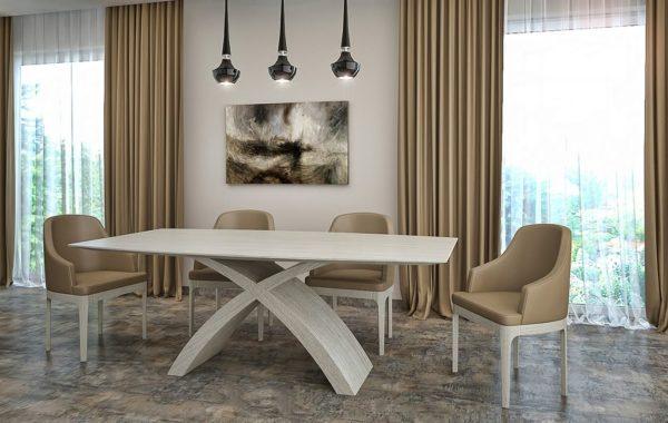 X lábú asztal: Alpi többszörkéselt tölgy, Alpi 10.82 egyedi nyitható étkezőasztalok webáruház