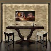 Valódi makasszár bárasztal - a 3D falpanelt is gyártjuk, festett és furnéros felülettel !