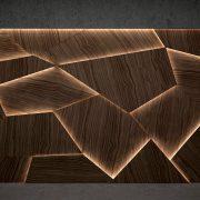 Jégtáblás, szinteltolásos fa falpanel dió LED felkapcsolva 2000x1200 mm