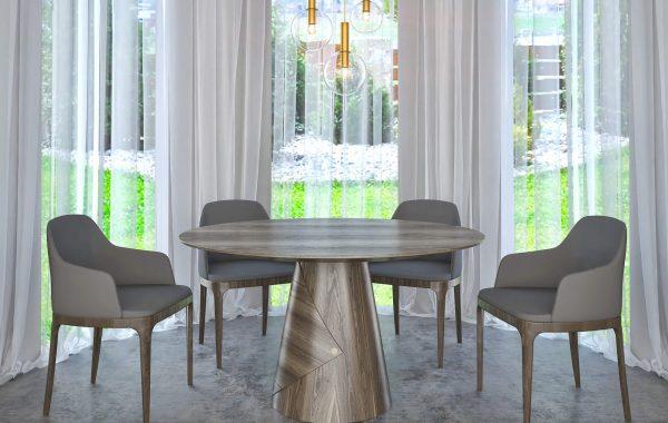 amerikai dió kerek kör asztal nyitható bővíthető étkezőasztal ebédlőasztal