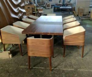 cubus minimál szék, design szék, étkezőszék, ebédlőszék, fa szék, magas karfás szék 46