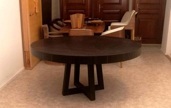 Base-ammara-ébenasztal étkezőasztal kinyitható asztal kerek asztal kör asztal ovális asztal ellipszis asztal