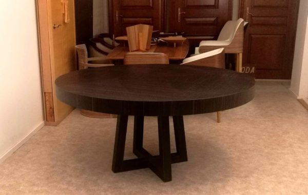 Base-ammara-ében-egyedi-kerek-nyitható-design-étkező-és-tárgyalóasztal 2