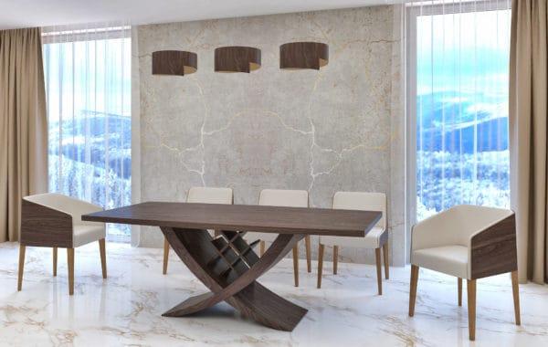 Reverz amerikai dió egyedi fordítható lábú étkezőasztal