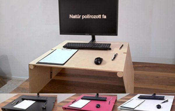 Natúr polírozott fa emelhető asztal felállítva